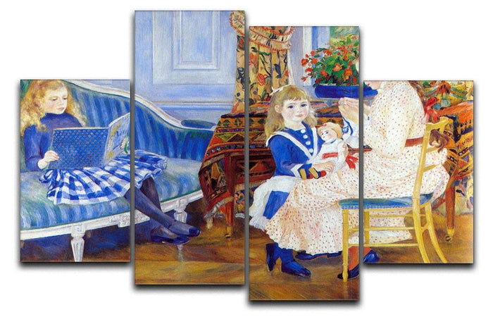 Children in the afternoon in Wargemont by Renoir 4 Split Panel Canvas