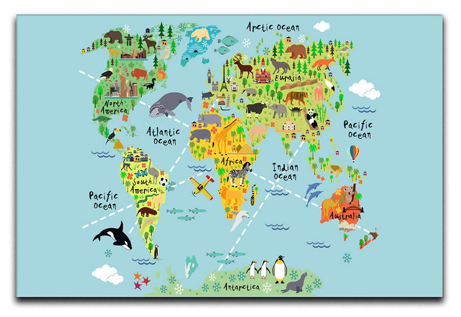 Children\'s Animal World Map Canvas Print or Poster