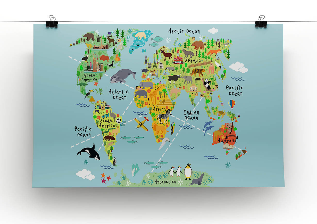 Childrens animal world map canvas print poster canvas art rocks childrens animal world map canvas print poster canvas art rocks gumiabroncs Images