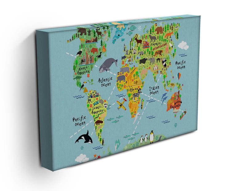 Children's Animal World Map Canvas Print & Poster - Canvas Art Rocks