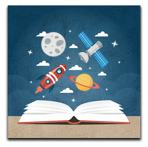 Children's Space Book Canvas Print