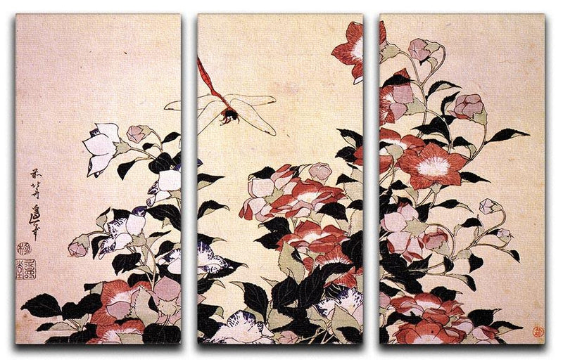 Chinese bell flower and dragon-fly by Hokusai 3 Split Panel Canvas Print - Canvas Art Rocks - 1