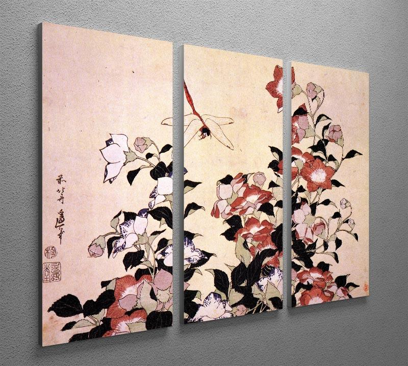 Chinese bell flower and dragon-fly by Hokusai 3 Split Panel Canvas Print - Canvas Art Rocks - 2