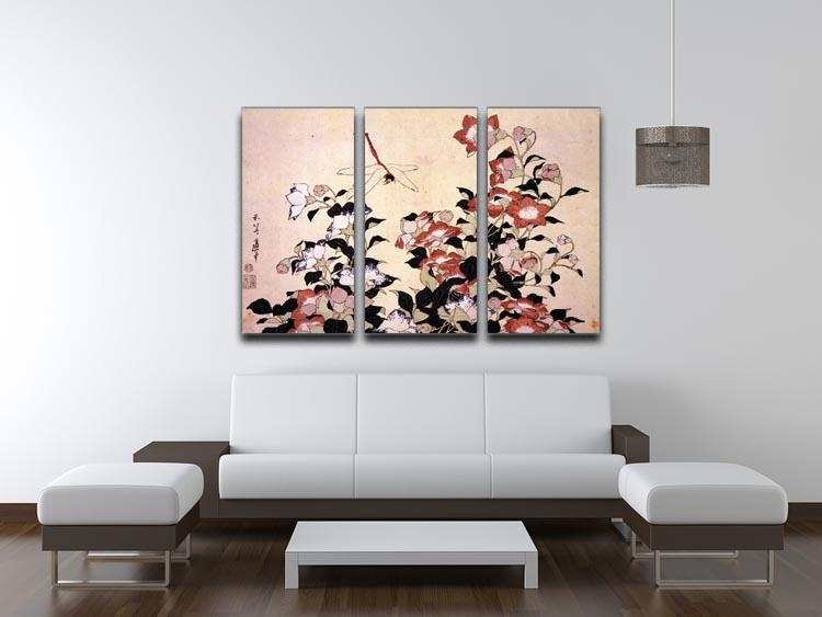 Chinese bell flower and dragon-fly by Hokusai 3 Split Panel Canvas Print - Canvas Art Rocks - 3