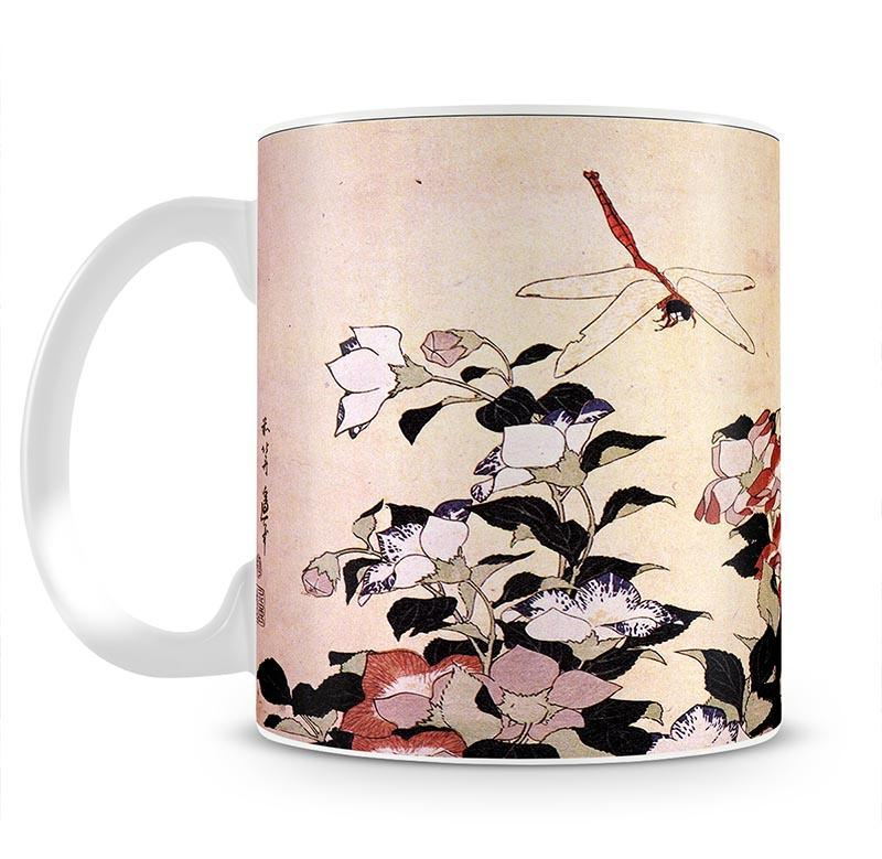 Chinese bell flower and dragon-fly by Hokusai Mug - Canvas Art Rocks - 2