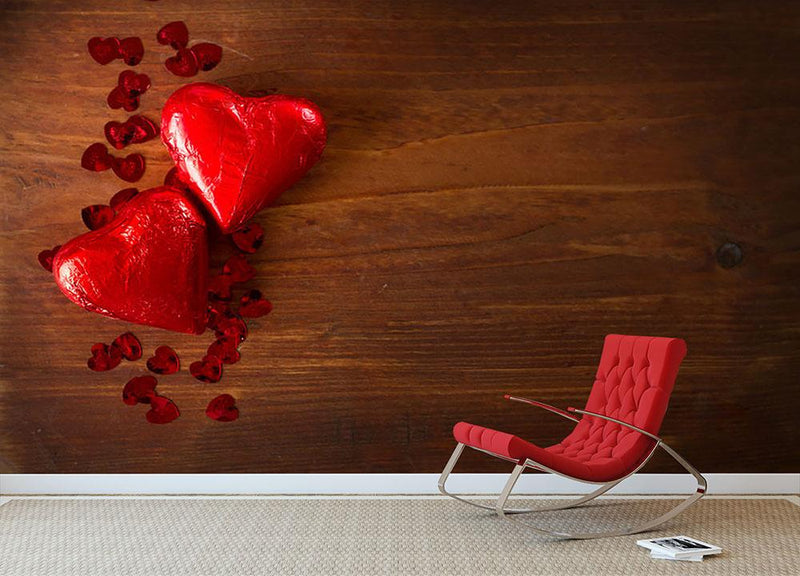 Chocolate hearts on wooden board Wall Mural Wallpaper - Canvas Art Rocks - 1