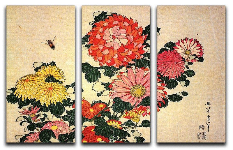 Chrysanthemum and bee by Hokusai 3 Split Panel Canvas Print - Canvas Art Rocks - 1