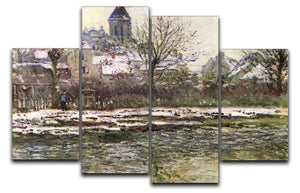 Church of Vetheuil in the snow by Monet 4 Split Panel Canvas  - Canvas Art Rocks - 1