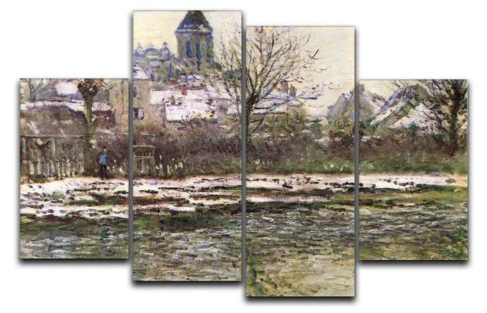 Church of Vetheuil in the snow by Monet 4 Split Panel Canvas