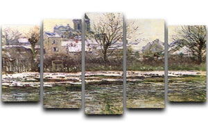 Church of Vetheuil in the snow by Monet 5 Split Panel Canvas  - Canvas Art Rocks - 1