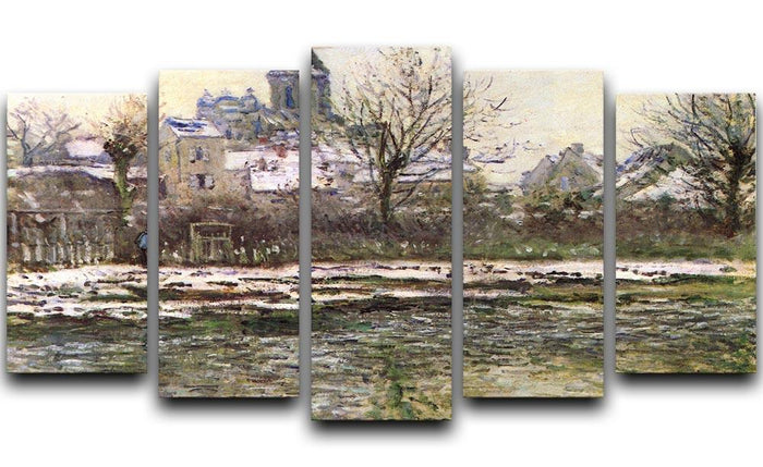 Church of Vetheuil in the snow by Monet 5 Split Panel Canvas