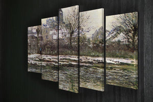 Church of Vetheuil in the snow by Monet 5 Split Panel Canvas - Canvas Art Rocks - 2