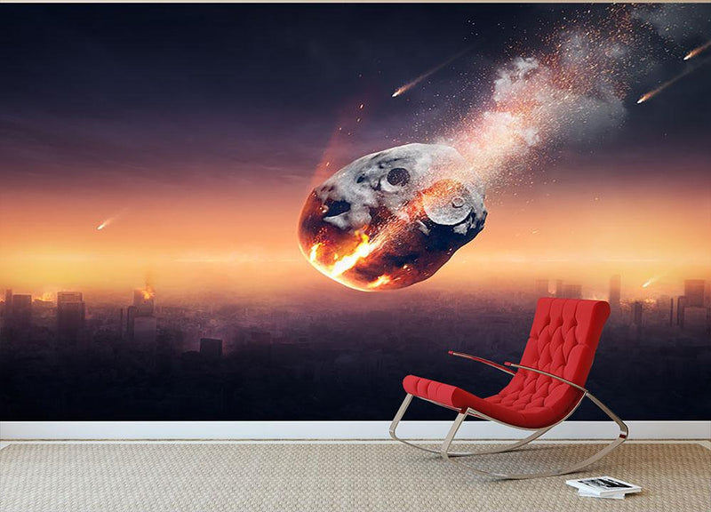 City on earth destroyed by meteor shower Wall Mural Wallpaper - Canvas Art Rocks - 1