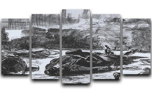 Civil war by Manet 5 Split Panel Canvas  - Canvas Art Rocks - 1