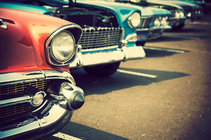 Classic cars in a row Wall Mural Wallpaper - Canvas Art Rocks - 1