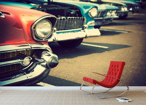 Classic cars in a row Wall Mural Wallpaper - Canvas Art Rocks - 2