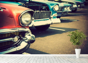 Classic cars in a row Wall Mural Wallpaper - Canvas Art Rocks - 4