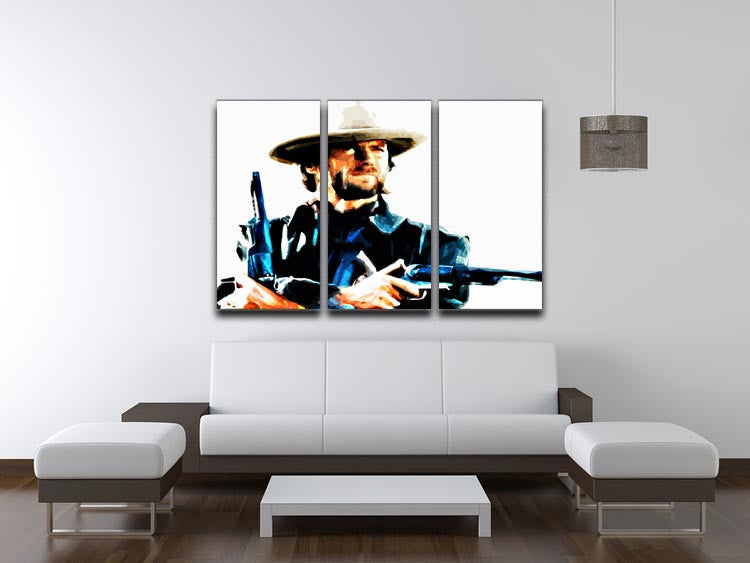 Clint Eastwood Spaghetti Western Cowboy 3 Split Panel Canvas Print - Canvas Art Rocks