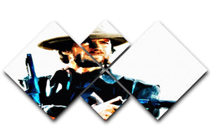 Clint Eastwood Spaghetti Western Cowboy 4 Square Multi Panel Canvas  - Canvas Art Rocks - 1