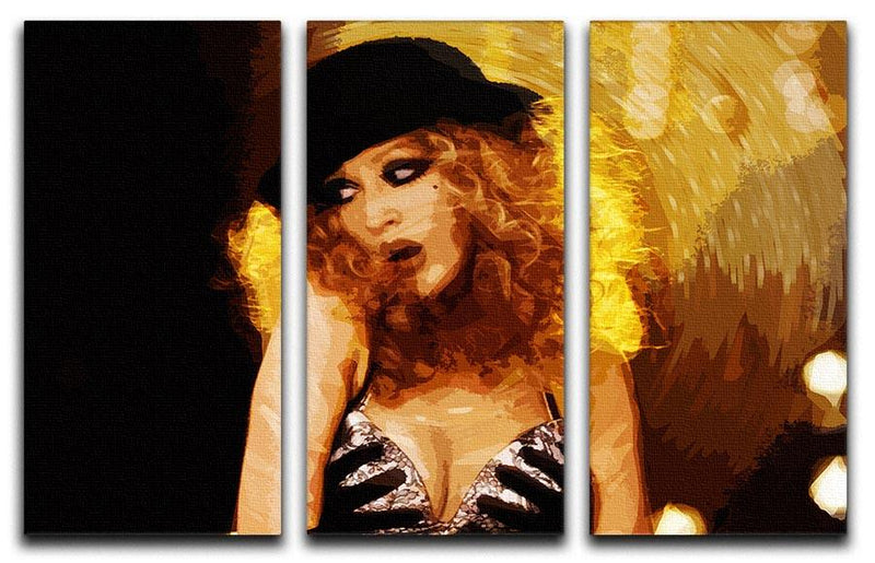 Close Up of Christina Aguilera from Burlesque 3 Split Panel Canvas Print - Canvas Art Rocks - 4