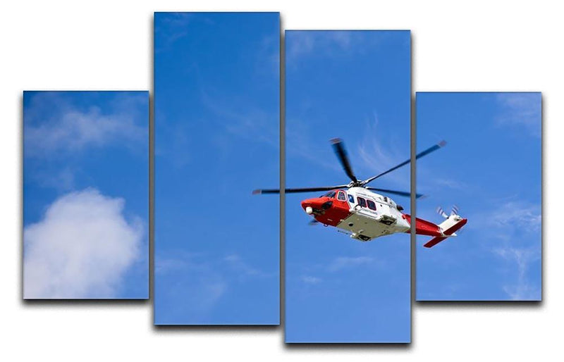 Coastguard helicopter in the blue sky 4 Split Panel Canvas  - Canvas Art Rocks - 1