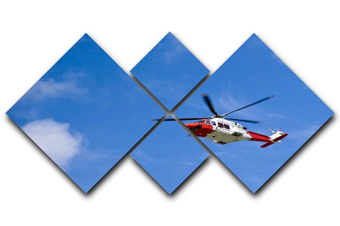 Coastguard helicopter in the blue sky 4 Square Multi Panel Canvas