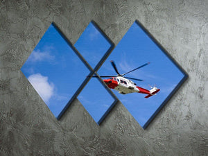 Coastguard helicopter in the blue sky 4 Square Multi Panel Canvas  - Canvas Art Rocks - 2