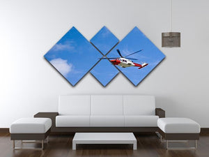 Coastguard helicopter in the blue sky 4 Square Multi Panel Canvas  - Canvas Art Rocks - 3