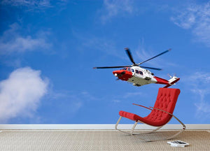 Coastguard helicopter in the blue sky Wall Mural Wallpaper - Canvas Art Rocks - 2