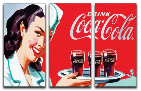 Coca Cola 3 Split Canvas Print - They'll Love Wall Art