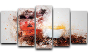 Coffee Painting 5 Split Panel Canvas  - Canvas Art Rocks - 1