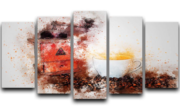 Coffee Painting 5 Split Panel Canvas