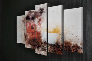 Coffee Painting 5 Split Panel Canvas - Canvas Art Rocks - 2