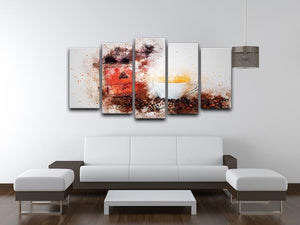 Coffee Painting 5 Split Panel Canvas - Canvas Art Rocks - 3