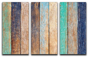 Colorful Wooden Plank 3 Split Panel Canvas Print - Canvas Art Rocks - 1