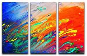 Colorful abstract acrylic painting 3 Split Panel Canvas Print - Canvas Art Rocks - 1