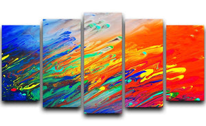 Colorful abstract acrylic painting 5 Split Panel Canvas  - Canvas Art Rocks - 1