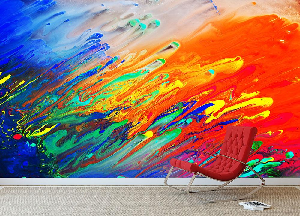 Colorful Abstract Acrylic Painting Wall Mural Wallpaper