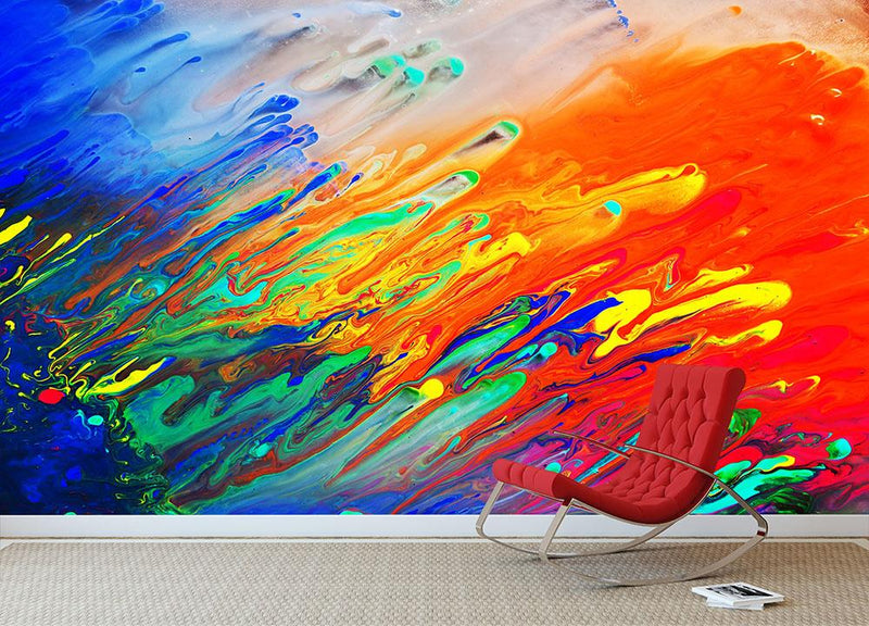 Colorful abstract acrylic painting Wall Mural Wallpaper - Canvas Art Rocks - 1