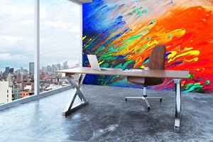 Colorful abstract acrylic painting Wall Mural Wallpaper - Canvas Art Rocks - 3