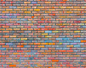 Colorful brick wall texture Wall Mural Wallpaper - Canvas Art Rocks - 1