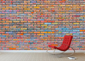 Colorful brick wall texture Wall Mural Wallpaper - Canvas Art Rocks - 2