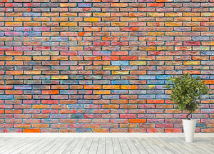 Colorful brick wall texture Wall Mural Wallpaper - Canvas Art Rocks - 4