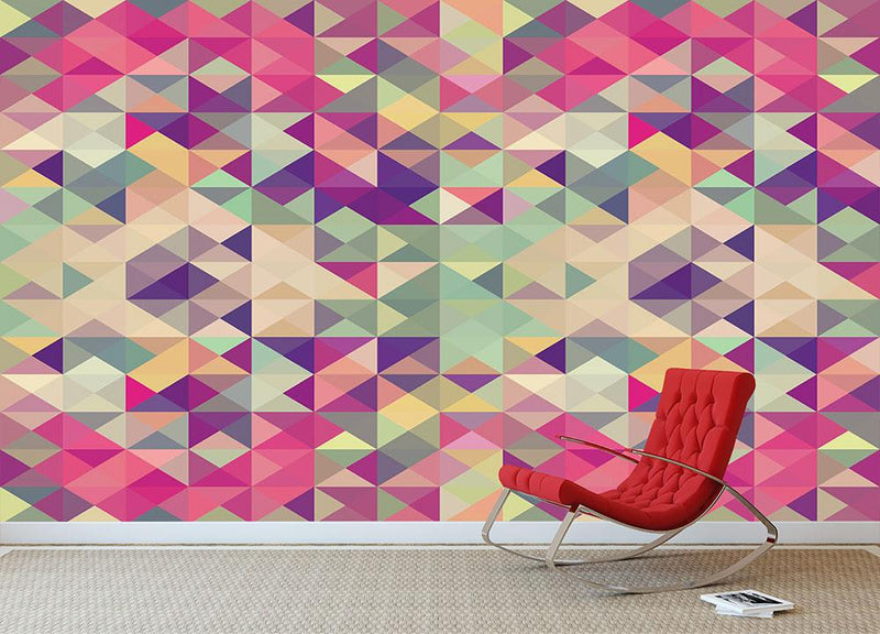 Colorful retro hipsters triangle Wall Mural Wallpaper - Canvas Art Rocks - 1