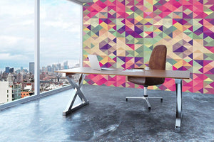 Colorful retro hipsters triangle Wall Mural Wallpaper - Canvas Art Rocks - 3