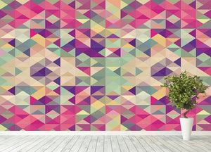 Colorful retro hipsters triangle Wall Mural Wallpaper - Canvas Art Rocks - 4