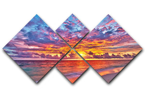 Colorful sunset over ocean on Maldives 4 Square Multi Panel Canvas  - Canvas Art Rocks - 1