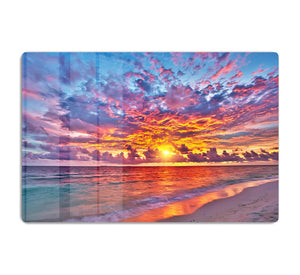 Colorful sunset over ocean on Maldives HD Metal Print