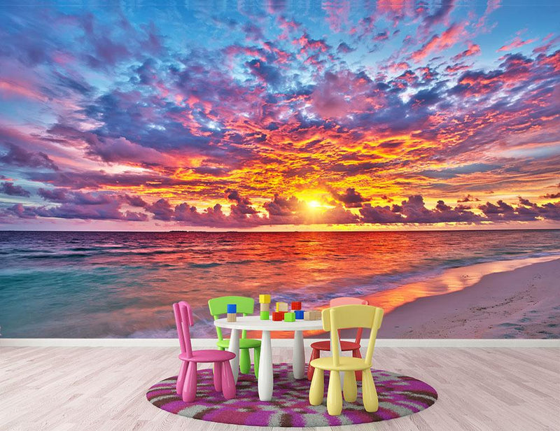 Colorful sunset over ocean on Maldives Wall Mural Wallpaper - Canvas Art Rocks - 1