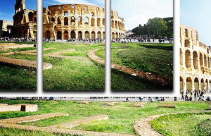 Colosseum Sunny Day in Rome 3 Split Panel Canvas Print - Canvas Art Rocks - 1